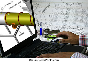 podporoval, počítač, design