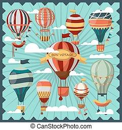podróż, chmury, collection., powietrze, bon, balony
