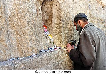podróż, fotografie, od, izrael, -, jerozolima, zachodnia ściana