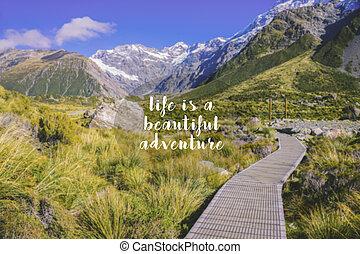 podróż, inspiracyjny, zacytować, -, życie, jest, niejaki, piękny, adventure., mglisto, tło.