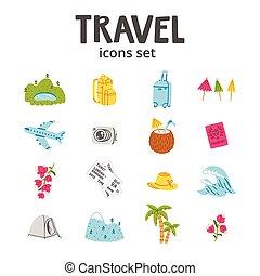 podróż, komplet, ikony