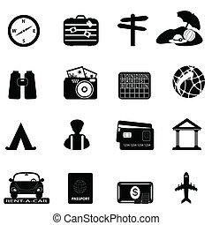 podróż, komplet, turystyka, ikona