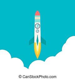 podróż kosmiczna, rakieta, innowacja, rozwój, wektor, rocket., moon., management., płaski, do góry, idea., process., 3d, produkt, style., statek, ilustracja, projekt, początek, twórczy, launch., przelotny
