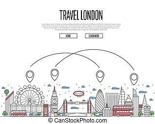 podróż, londyn, afisz, w, linearny, styl