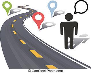 podróż, markiery, osoba, miejsce, drogowy bok, szosa