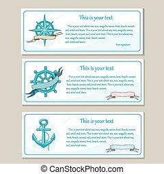 podróż, morze, banners., komplet, morski, design.