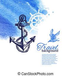 podróż, morze, tło., morski, akwarela, rys, ilustracje, rocznik wina, ręka, pociągnięty, design.