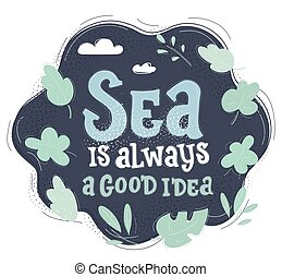 podróż, pociągnięty, tło., design., ilustracja, ciemny, wektor, morski, słówko, morze, ręka