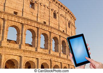 podróż, pojęcie, colosseum, rzym