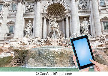 podróż, pojęcie, fontanna, trevi, rzym