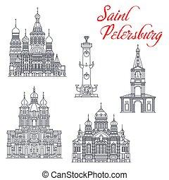 podróż, punkty orientacyjny, petersburg, święty, architektura