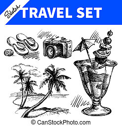 podróż, set., święto, rys, ilustracje, ręka, pociągnięty
