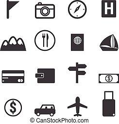 podróż, set., ikony