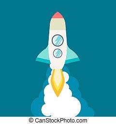 podróż, .space, rakieta, innowacja, rozwój, wektor, management., moon., płaski, do góry, idea., process., 3d, produkt, style., statek, ilustracja, projekt, początek, twórczy, launch., przelotny