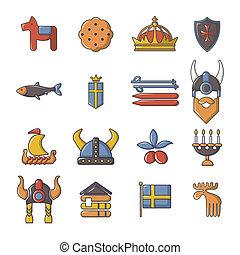 podróż, styl, rysunek, szwecja, komplet, ikony