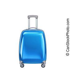 podróż, tło, odizolowany, biały, walizka, błękitny