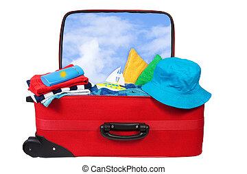 podróż, urlop, walizka, opakowany, czerwony