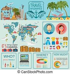 podróż, vacations., infographic, plaża