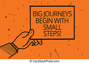 podróże, fotografia, jeden, papier, twój, informacja, pisanie, nuta, tło., dzierżawa, pomarańcza, steps., rozpoczynać, handlowy, komunikowanie, cielna, pokaz, osiągać, ręka, showcasing, krok, cele, człowiek, czas, mały, kropka