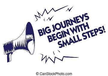 podróże, fotografia, jeden, wiadomość, twój, błękitny, pisanie, nuta, steps., rozmawianie, głośnik, rozpoczynać, loud., handlowy, cielna, pokaz, osiągać, showcasing, krok, ważny, cele, wrzaskliwy, megafon, czas, mały