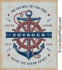 podróżnik, rocznik wina, typografia, morski