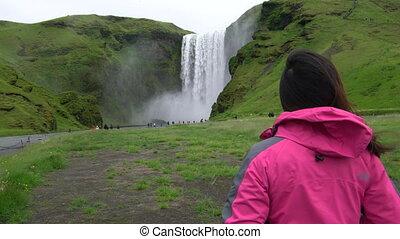podróżnik, skogafoss, podróż, wodospad, iceland.