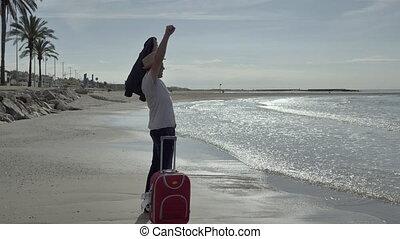 podróżnik, urlop, dodatni, walizka, człowiek, came, wzruszenia, czerwone morze