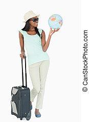podróżowanie, świat, uśmiechnięta kobieta, młody