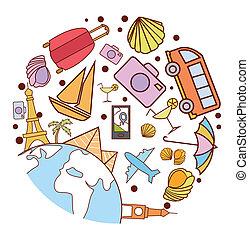 podróżowanie, koło, chorągiew, doodle