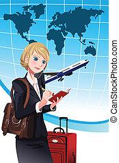 podróżowanie, kobieta interesu