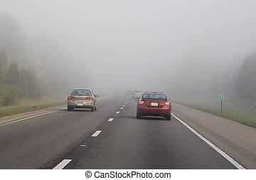 podróżowanie, w, mgła, 3