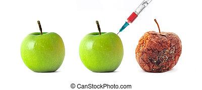 podrido, manzana verde