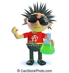 podrido, roca del punk, carácter, tenencia, líquido, caricatura, ilustración, verde, frasco, 3d