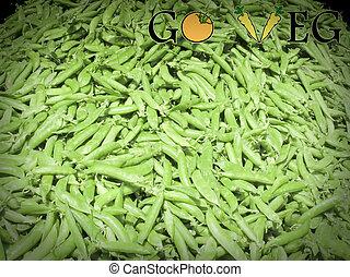 Pods of Sugar Snap Peas at market, Go Veg, Concept