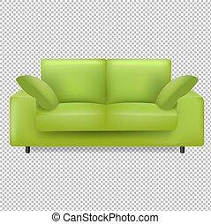 poduszki, tło, zielony, przeźroczysty, sofa, odizolowany
