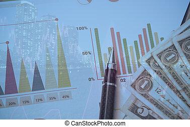 podwójcie się ekspozycja, od, miasto, z, pióro, pieniądze, wykres, pojęcie, dla, handlowy, finance.