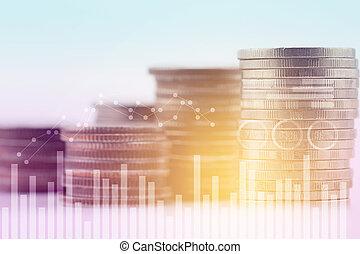 podwójcie się ekspozycja, w, błękitny akcent, od, wykres, i, monety, dla, finanse, -, handlowy, concept.