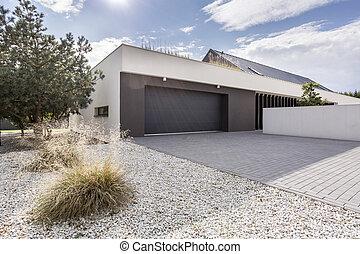 podwójny, dom, garaż