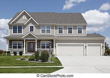 podwójny, dom, podmiejski, garaż