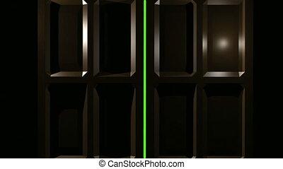 podwójny, ekran, zielony, drzwi