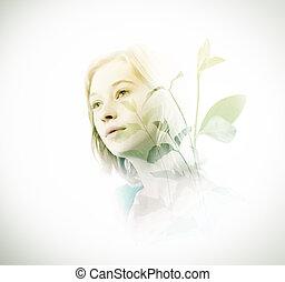 podwójny, liście, kobieta, zielony, ekspozycja
