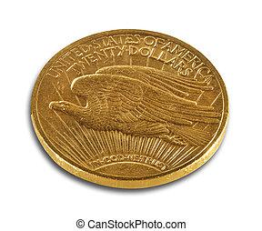 podwójny, pieniądz, złoty, orzeł