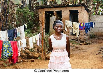 podwórze, kobieta, młody, afrykanin