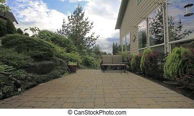 podwórze, patio, ogród, timelapse