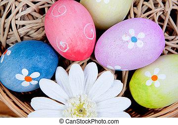 podwijany, jaja, kosz, ozdobny, wielkanoc, margerytki