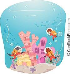 podwodny, badać, dzieciaki, stickman, zabudowanie