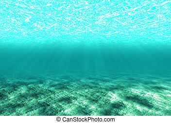 podwodny, cichy, kopia, scena, przestrzeń