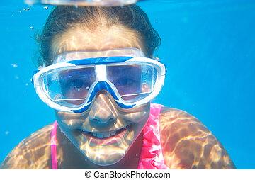 podwodny, dziewczyna, portret