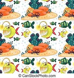 podwodny, fish, seamless, tło