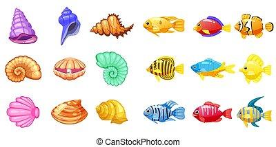 podwodny, fish, seashell, elements., ikony, koral, gra, apps, trzy, odizolowany, tropikalny, tło., gra, wektor, rafa, perła, biały, barwny, rysunek, mecz